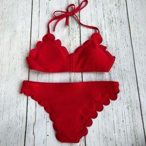 NWOT Red Scalloped Bikini - Size M/L